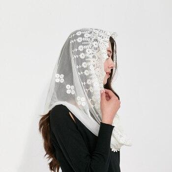 Couverture ruso Iglesia Ortodoxa encaje Mujer bufanda moda bufanda flores bordado foulard mujer ropa cubierta completa bufanda