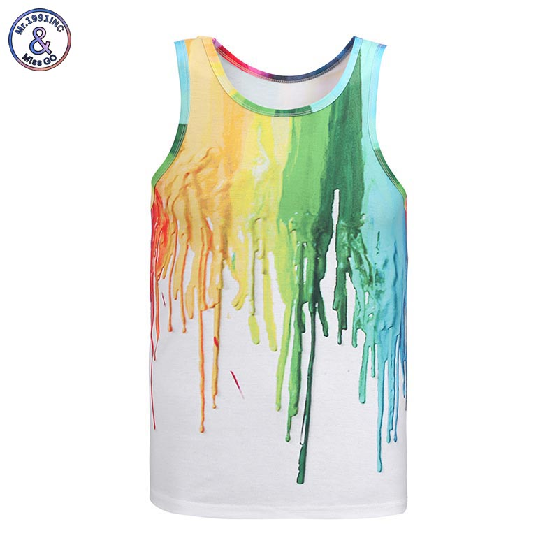 Mr.1991INC Hot model Europe and America fashion 7 colors pigment printing 3D vest Men   tank     tops   casual summer   tops   tees