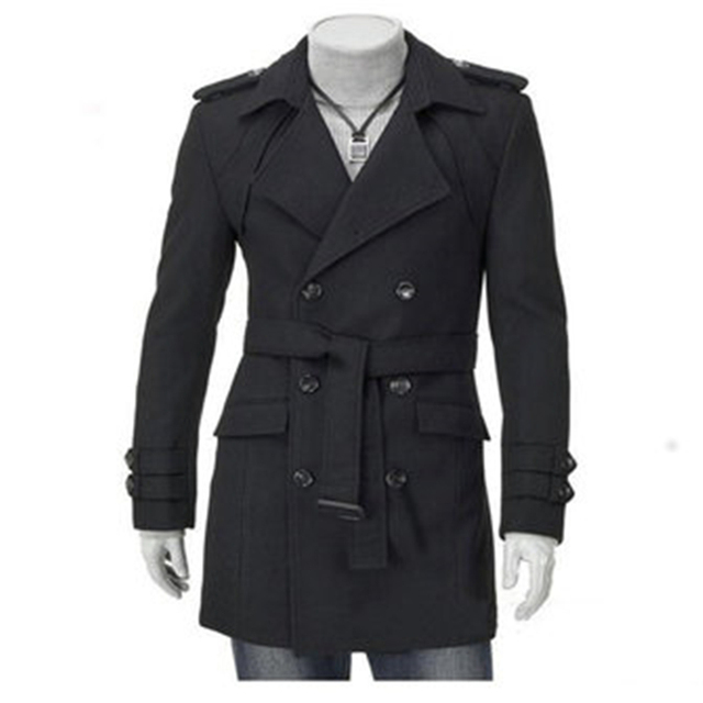 1bb302215908 Mens Thicken Woolen Long Coat Double Breasted Slim Fit British Style  Outdoors Overcoat Winter-Clothing