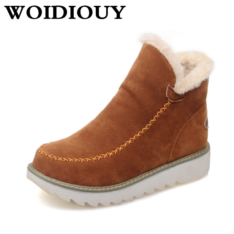 Womens Snow Boots Beige Brown Black Large Size Solid Color Warm Fur Lining Winter Ankle  ...
