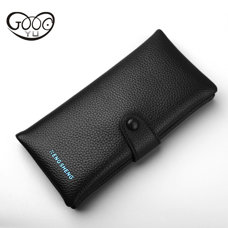 GOOG.YU Lychee pattern two fold Mens Wallet Quality leather Small Wallets Short Purse Male Luxury Vintage Card Holder purses