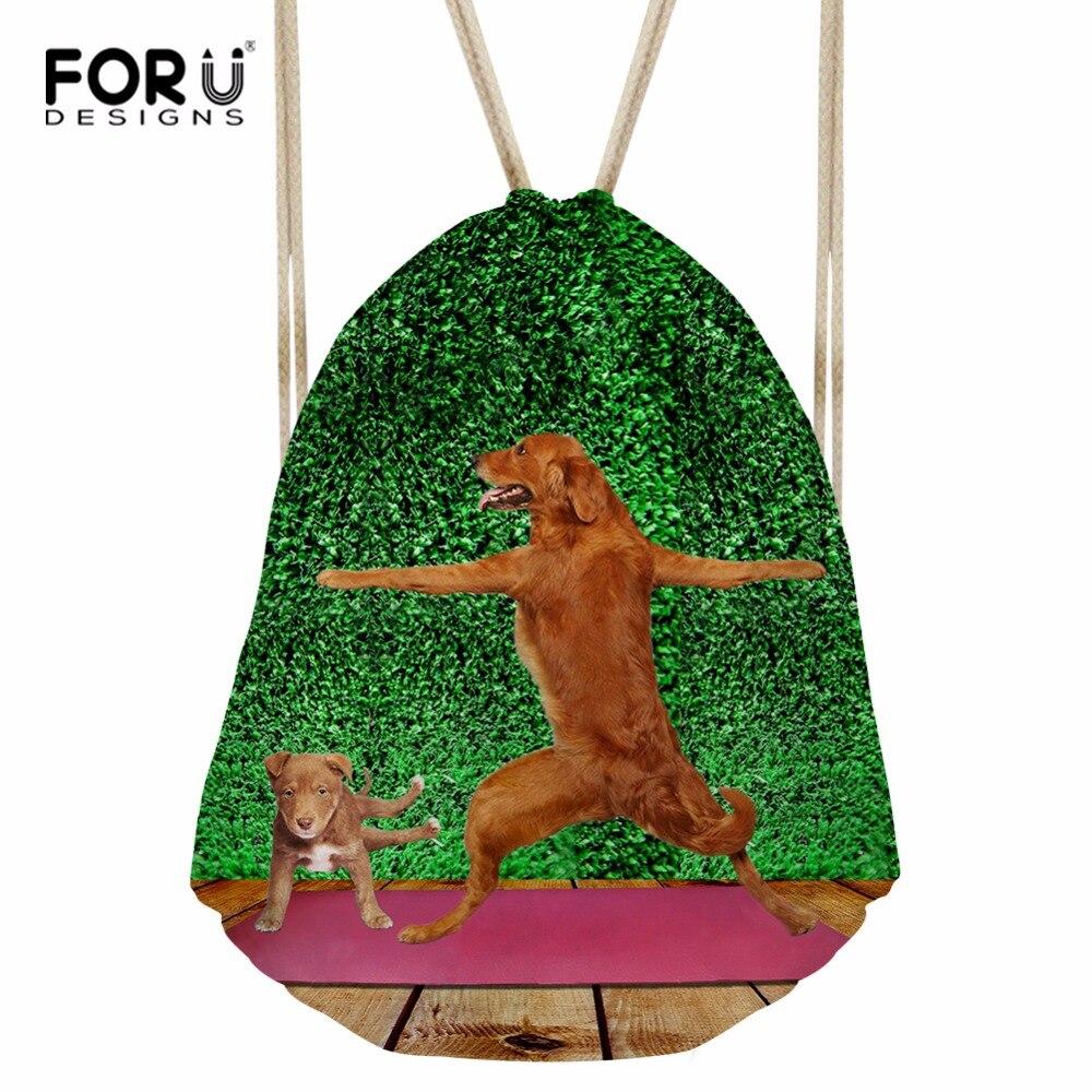 8789038280a9 FORUDESIGNS/сумка на шнурке с принтами животных и собак, модный ранец,  маленький рюкзак