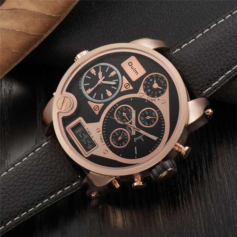 Oulm Dual Display Wristwatches Digital Analog Male Leather Quartz Watch Big Dial Men Military Watches relogio