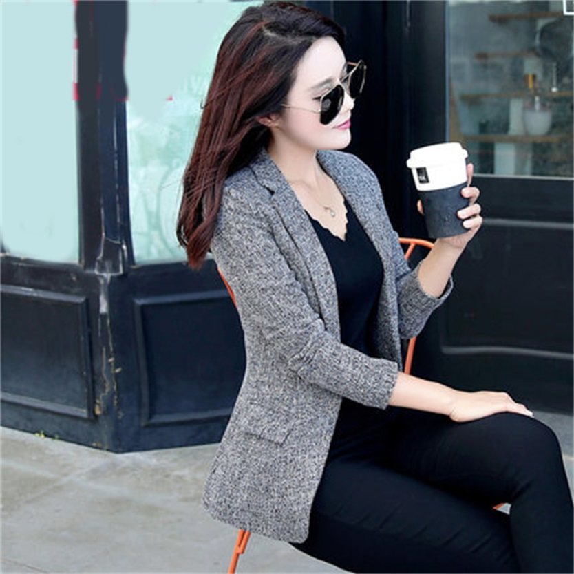 Autumn New Women Slim fit Coat Fashion Casual Jacket One Button Small Suit Ladies Blazers Work Wear(4 colors optional)