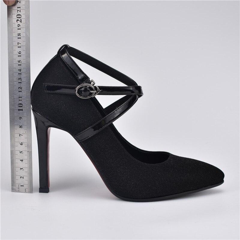 Cheville Femmes Bout Mode Hauts Talons Pompes Boucle Odetina Chaussures Stiletto 10 attaché Lady 2019 Sexy Parti Printemps Croix Noir Sangle Pointu Cm 4qaPaSH