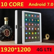 Горячее предложение планшетов Android 7.0 10 ядро 64 ГБ Встроенная память двойной Камера и Dual Sim Tablet PC Поддержка OTG WI-FI GPS 3 г 4 г LTE Bluetooth телефон