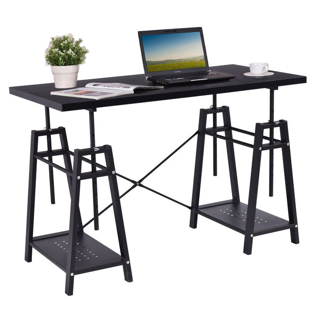 Giantex Modern Computer Desk Height Adjustable PC Laptop Study Writing Table  Workstation Home Office Furniture HW56368