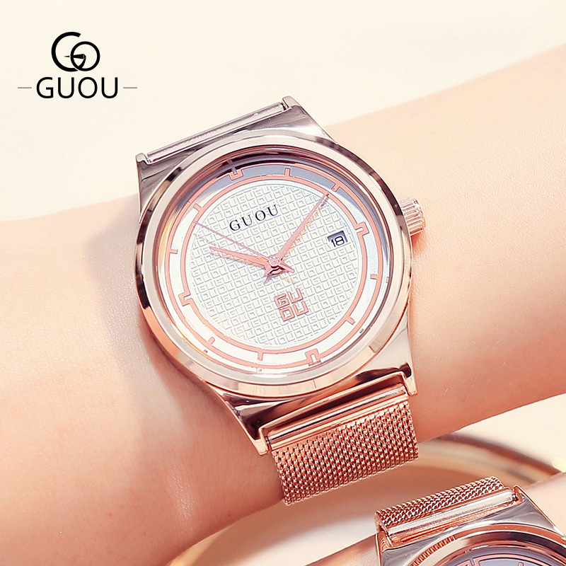 Fashion GUOU Brand Couple Watches  Simple Calendar Waterproof Quartz  Men Women Lovers Mesh Band Quartz Wristwatches
