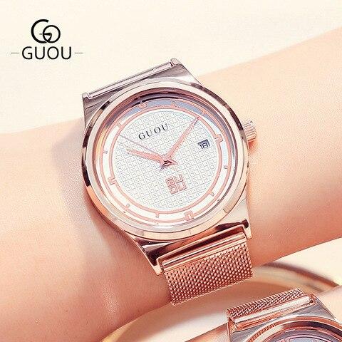 Marca da Moda Amantes de Quartzo para Mulheres dos Homens de Calendário à Prova Relógios de Pulso de Quartzo Guou Casal Relógios Simples Água Malha Banda d'