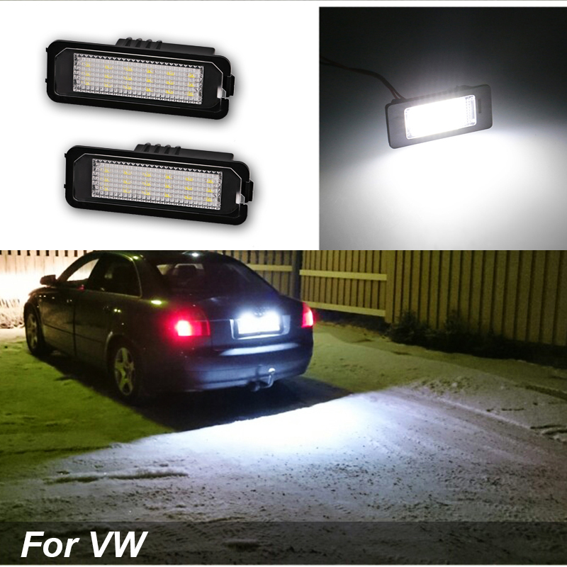 2PCS High Quality License Plate Llights White For VW CC Golf 4 5 6 GTI R32 Eos Rabbit Scirocco 987 997 958