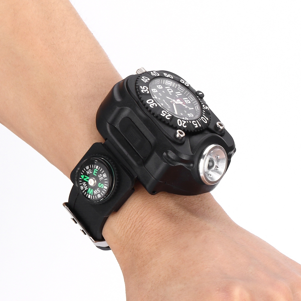 2211 tactische kompas zaklamp oplaadbare q5 led horloge zaklamp wristlight waterdichte pols verlichting lamp outdoor 800lm in 2211 tactische kompas zaklamp