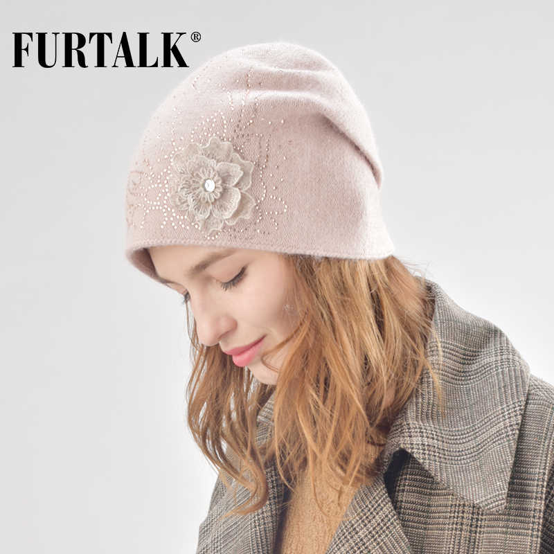 81e3778bc72469 FURTALK Cashmere Winter Hat for Women Beanie Hat Wool Double Lining Warm Female  Knit Beanie rabbit