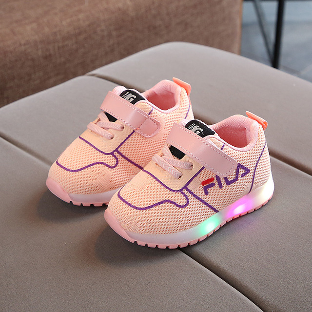 Brand New LED lighted Classic infant tennis cool baby girls boys sneakers casual baby sneakers Hook&Loop baby first walkers