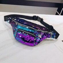 10PCS / LOT Unisex Fashion Sequin Waist Fanny Pack Belt Bag Pouch Travel Hip Purse Mens Womens Packs