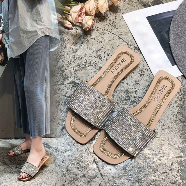 2019 Women's Slippers Summer Beach Casual Shoes Fashion Casual Square Toe Crystal Outdoor Ladies Shoes Flip Flops Home