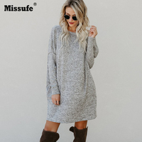 Missufe O Neck Elegant Casual Sweater Knitted Dress Women With Pocket Mini Brief Autumn Winter Dresses