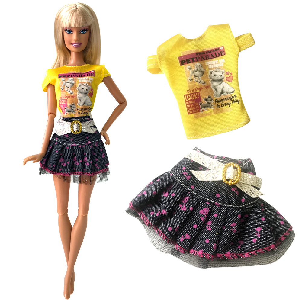 NK Satu Set Pakaian Boneka Mode Pakaian Jeans Rok Kartun Pencetakan Pakaian Untuk Barbie Doll Gadis Hadiah Favorit Gaun Pesta