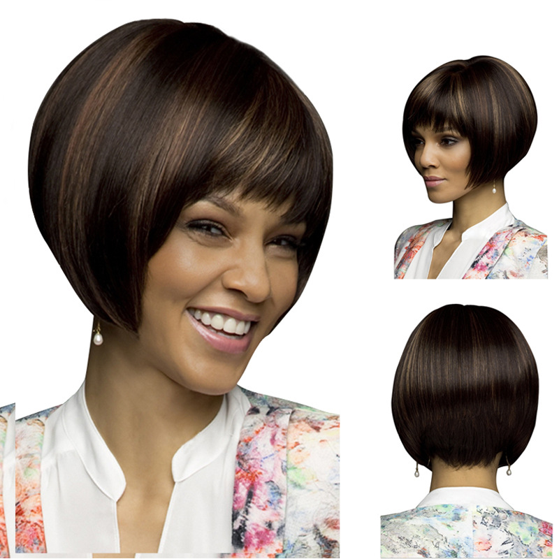 8inch Highlights brown short bob wig best quality wigs for black women