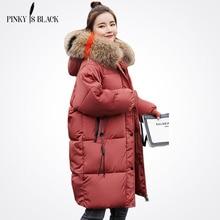 Pinky Is Black 2017 Long Winter Jacket Women Large Fur Hooded Coat Thicken Parkas Outwear Fashion Bread Loose Style