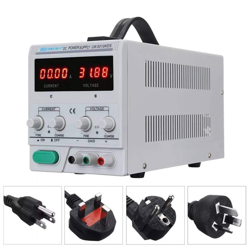 KKMOON LW-3010KDS 110V/220V 0-30V 0-10A Switching Regulated Adjustable DC Power Supply Single Channel VariableKKMOON LW-3010KDS 110V/220V 0-30V 0-10A Switching Regulated Adjustable DC Power Supply Single Channel Variable
