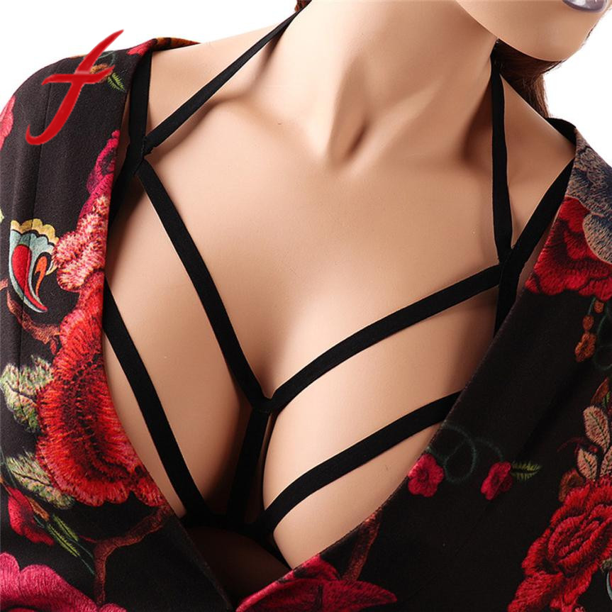 Gothic bandage bra sexy women hollow out elastic cage bandage strappy halter bra bustier tops cupless cropped body belt