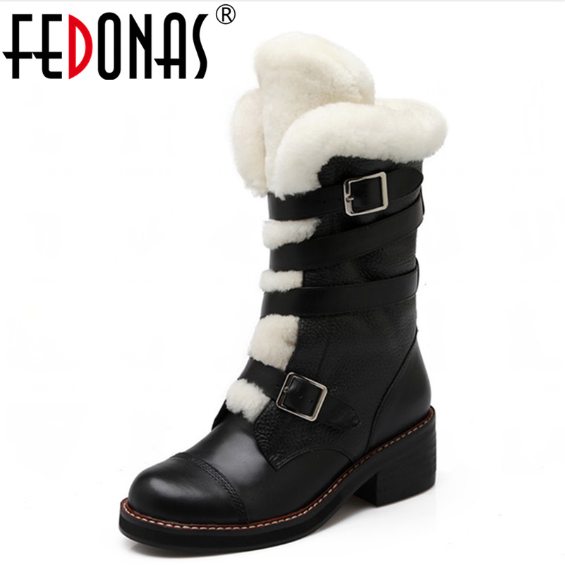 FEDONAS Fashion Winter Women Warm Snow Boots Thick Wool+Plush Shoes Woman Boots Mid-Calf Platform High Heeled Motorcycle Boots fedonas top quality winter ankle boots women platform high heels genuine leather shoes woman warm plush snow motorcycle boots