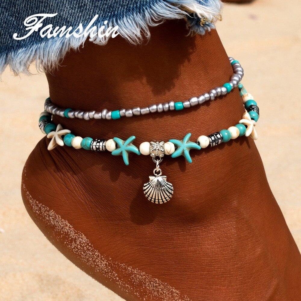 FAMSHIN Bohemian mehrere Schichten Seestern Shell Perlen Fußkettchen - Modeschmuck
