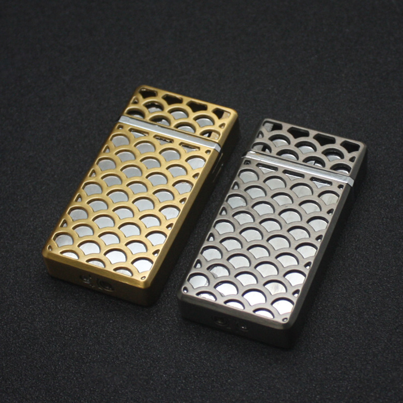 Image 3 - Dual Fire Jet Lighter Torch Turbo Lighter Hollow Free Fire Windproof Metal Cigar Pipe Gas Lighter 1300 C Butane Gadgets For Man-in Matches from Home & Garden