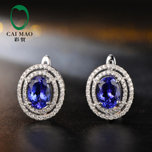 Caimao Calssic Anniversary 6x8mm Oval Shape 3.05CT Tanzanite & 0.51ct Natural Diamond 14k White Gold Earring