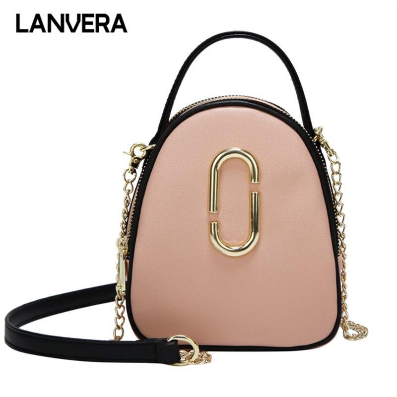 LANVERA Brand Women Casual Mini Totes Solid Chains Circular Handbag Hotsale Lady Party Purse Messenger Crossbody Shoulder Bags