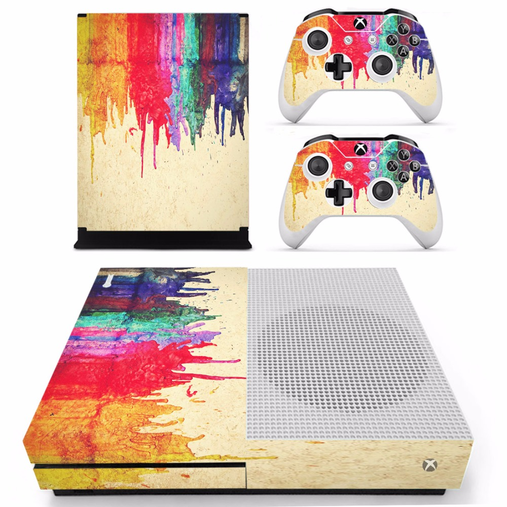 Oil painting Vinly Skin Sticker Decals For XBOX One S Console With Two Wireless Controller Skin