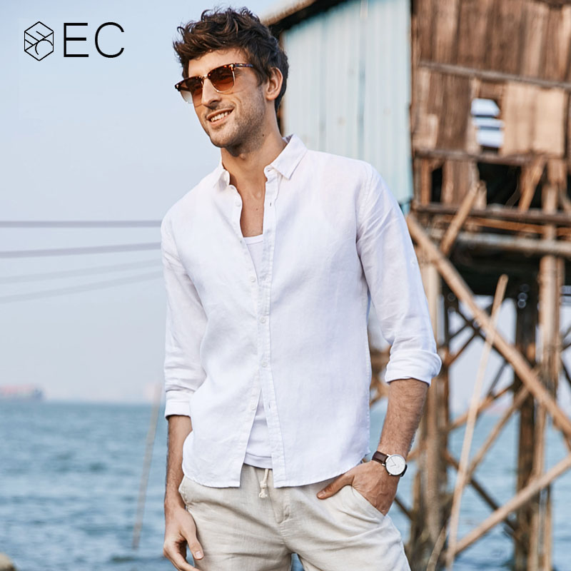 1410ed3a0b68 EC2018 Summer Striped Shirt Men Casual Shirts Long Sleeve Cotton Linen  Fashion Three Quarter Slim Fit ...