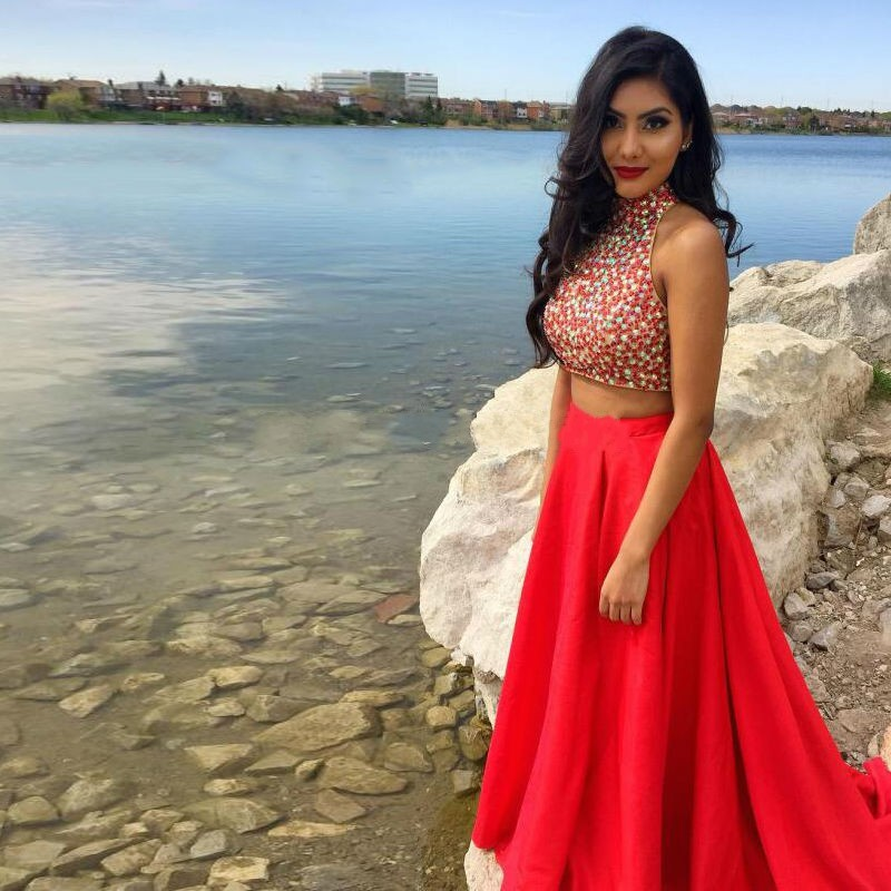 9d4dad5ad Red Two Piece Prom Dresses 2016 Vestidos Cortos De Gala High Neck Beaded  Rhinestones Women Formal Evening Party Gowns. 4(01) 4(02) ...