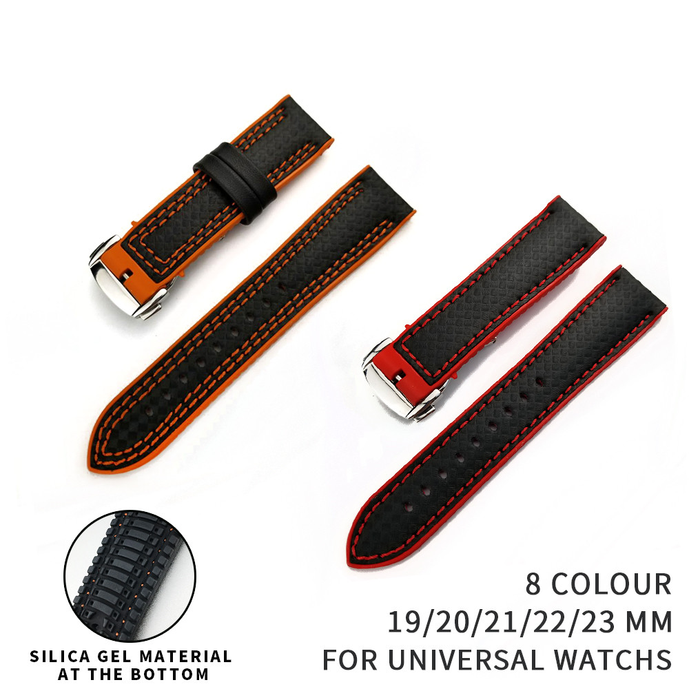 19/20/21/22mm Carbon Fiber Grain Silicone Rubber for Breitling Watchband for Tissot Watch Bracelet for Seiko Sports Strap Man jansin 22mm watchband for garmin fenix 5 easy fit silicone replacement band sports silicone wristband for forerunner 935 gps