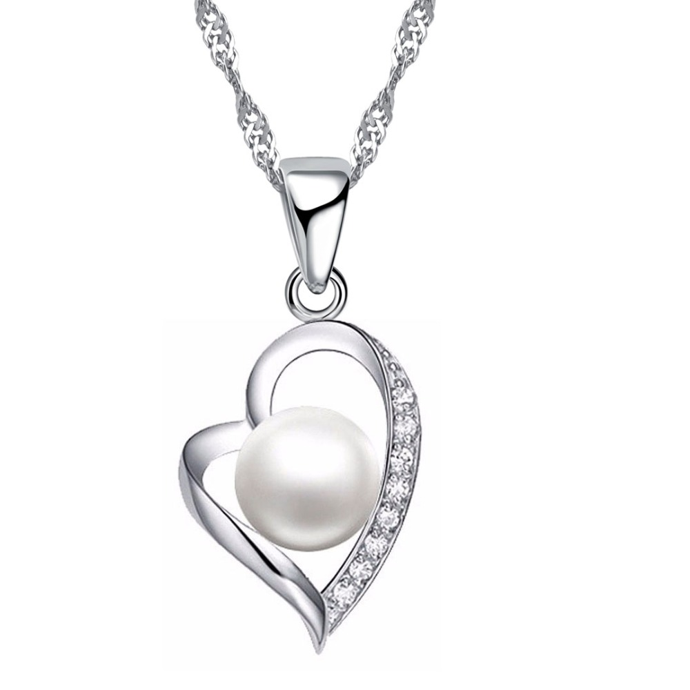 b8448f836238 JEXXI romántica amante de la moda mejor regalo de Plata de Ley 925 CZ Cubic  Zirconia colgante corazón hueco collar de perlas de joyería de la boda