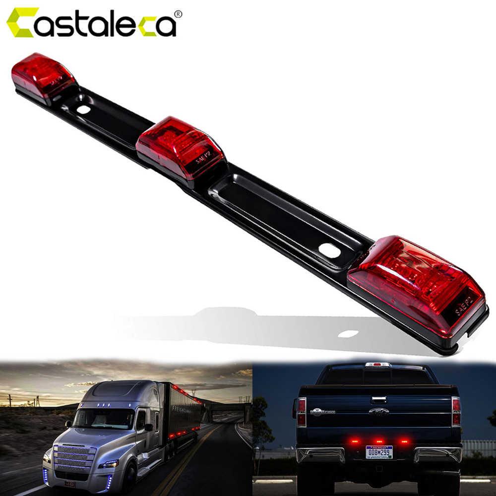 Castaleca 新トラックトレーラーリア brack ライト赤クリアランスサイドマーカーランプバー 9 LED ピックアップトラック RV 車 12 ボルト