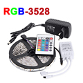 Non-Waterproof 5M RGB LED Strip Light 300Leds SMD3528 LED Flexible Strip Light IR Remote Controller 12V 2A Power Supply Adapter