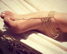 European Style Gold Color Multilayer Chains Anklets Bracelets Foot Women JL0007