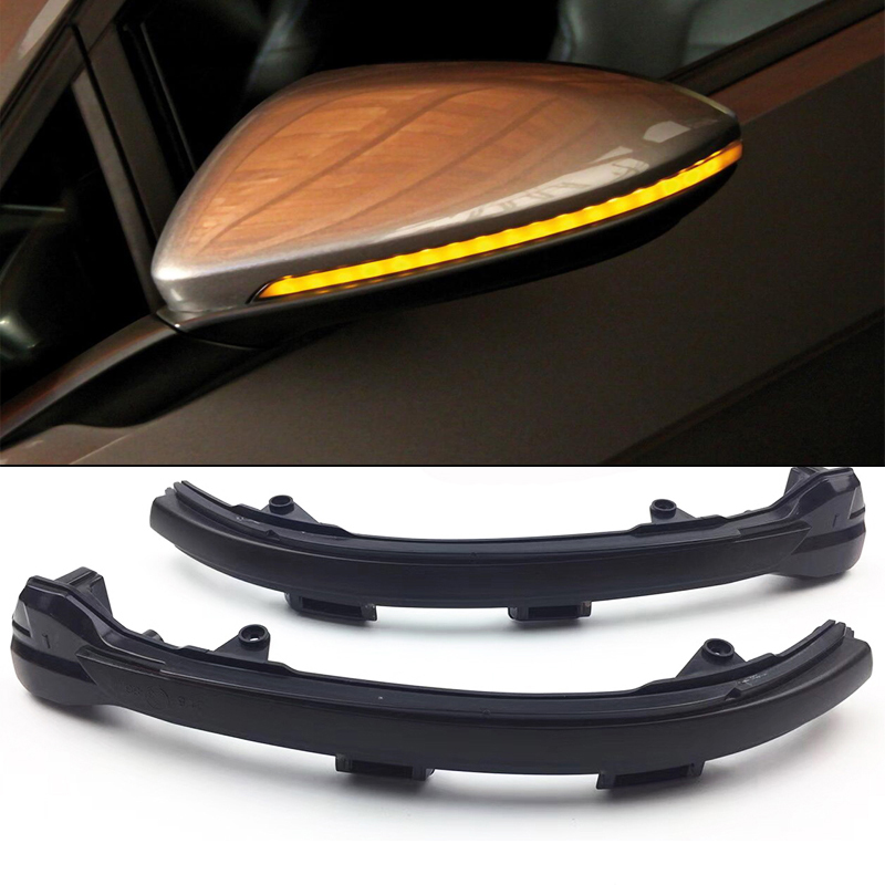 Smoked Side Mirror Sequential Blink Turn Signal Light For 2015-2018 Volkswagen MK7 Golf GTI Turn Signal Lights,Amber LED 4pcs black led front fender flares turn signal light car led side marker lamp for jeep wrangler jk 2007 2015 amber accessories