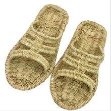 Wicker schuhe handarbeit gewebt männer hausschuhe flip flops neue leinen unisex strand schuhe sommer mode retro Non slip sandalen