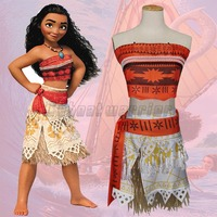 2017 Moana Cosplay Costume Princess Suit Movie Moana Adult Women Party Dress Skirt Free Shipping