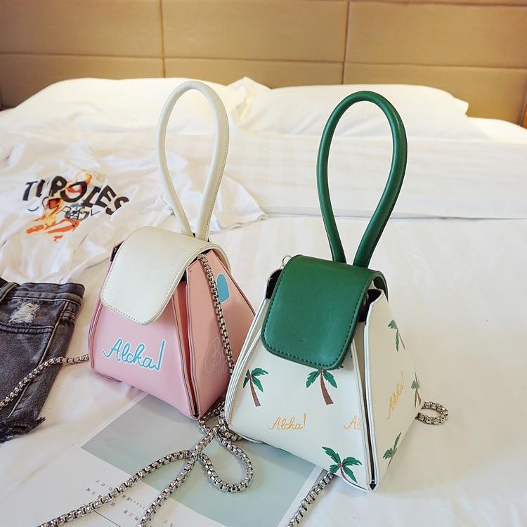 Autumn Leisure Shoulder Bag Printed Coconut Tree Triangle Messenger Bag Pu Leather Tote Bag