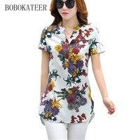 BOBOKATEER Blue Black Short Sleeve White Gray Casual Plus Size Women Blouses Blouse Blusas Shirt Tops