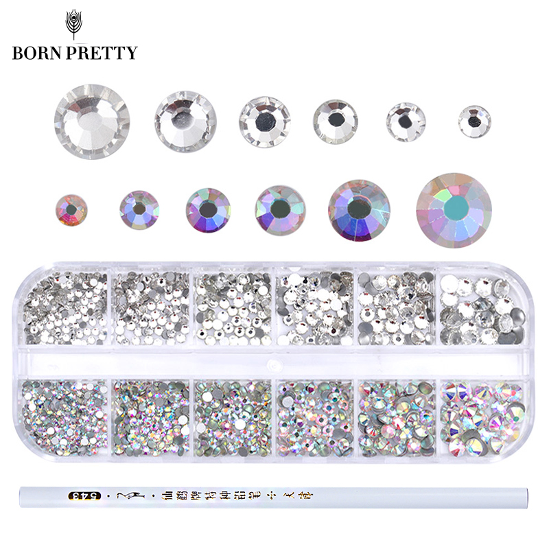 1 Box AB Color Nail Rhinestone with Dotting Pen Clear Flat Bottom Multi-size Crystals Manicure Nail Art 3D Decoration Strass Gem