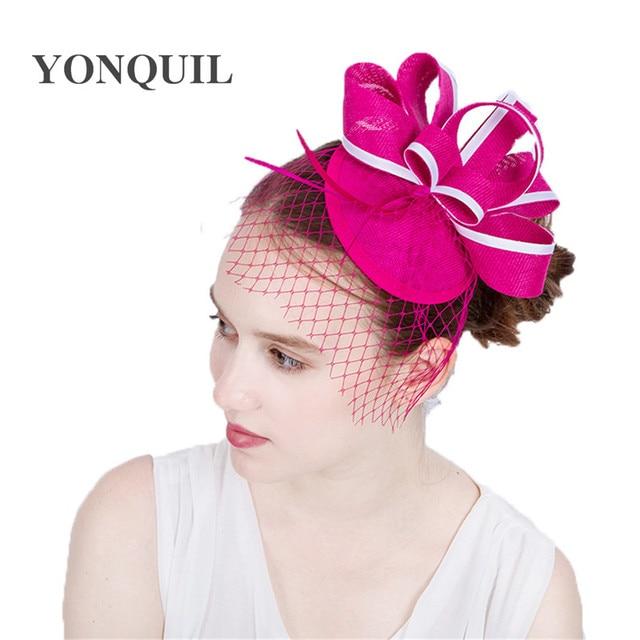 69148bdd905 New Paris hot pink imitation Sinamay Fascinators Elegant Ladies Floral Hat  event Headband Wedding Party Derby Hair Accessories