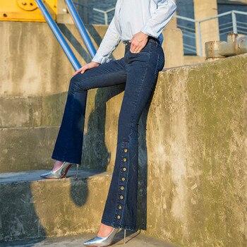 Free Shipping 2019 New Fashion Long Jeans Pants For Women Flare Trousers Plus Size 25-30 Denim Autumn Blue Stretch Jean Slim цена 2017