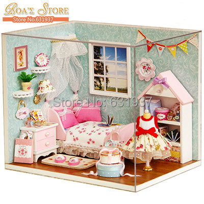 ФОТО 2015 New Diy  Wooden Doll House Miniatura Dollhouses  Miniature 3D Puzzle For Child Toy Model Kits Toys Birthday Christmas Gift