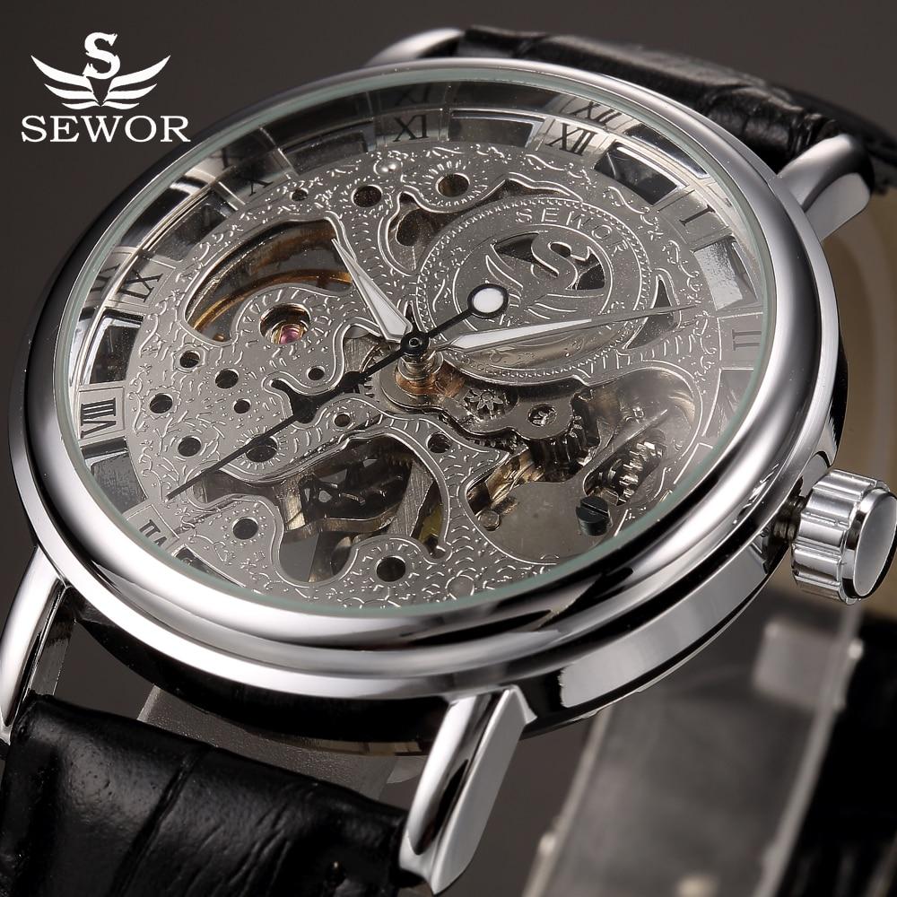 где купить  2017 SEWOR Brand Skeleton Mechanical Wrist Watch for Men Transparent Clock Male Mens Black Leather Wristwatches Montre Homme  по лучшей цене