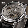 2017 SEWOR Brand Skeleton Mechanical Wrist Watch for Men Transparent Clock Male Mens Black Leather Wristwatches Montre Homme