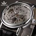 2017 sewor marca esqueleto reloj de pulsera mecánico para los hombres reloj masculino mens de cuero negro transparente relojes montre homme
